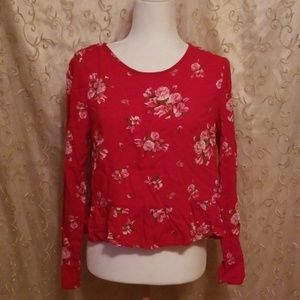 Divided H&M Floral Red Top Blouse Size 8